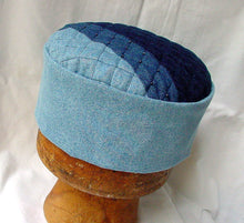 Load image into Gallery viewer, The handmade pillbox shaped cap has a light stonewash denim crown