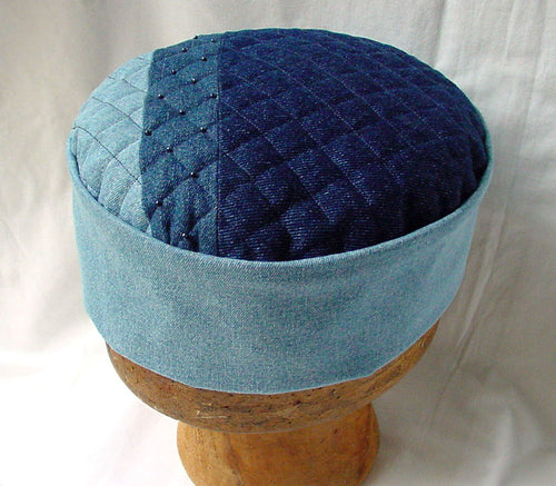Mens boho hat in shades of blue denim, with a patchwork tip