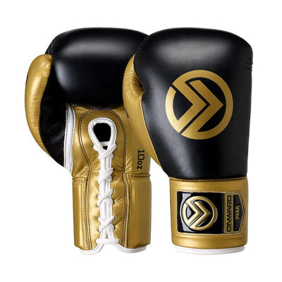 Vero Lace Up Boxing Glove-Boxing Gloves-BLACK/GOLD-8OZ-2AA001-095-8OZ-Onward
