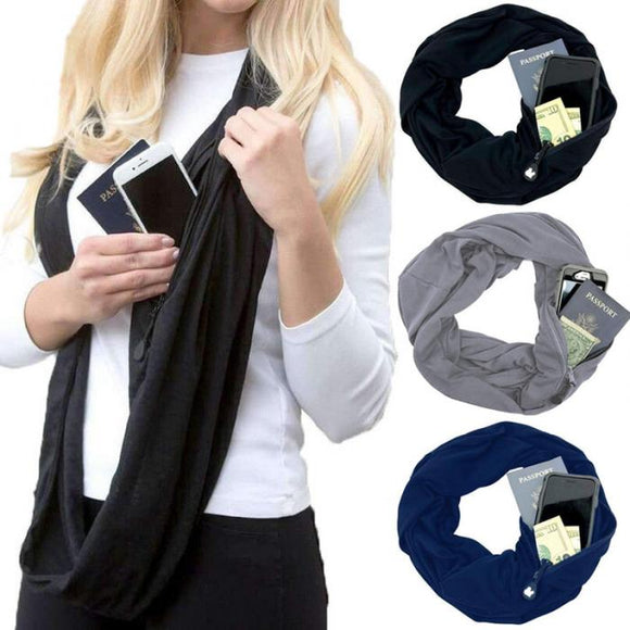 Infinity Pocket Scarf with Zipper Pocket