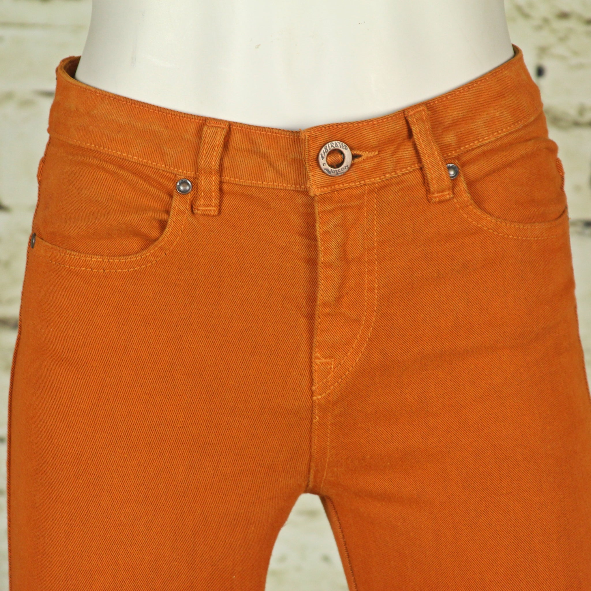 f0e4bfe4df6 ... Load image into Gallery viewer, Volcom Orange High Waist Flare Fit  Women' ...