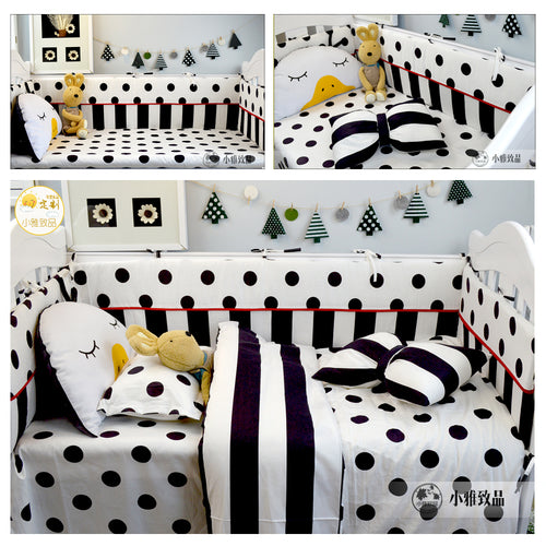 Bump Closet 3/4pcs set Baby bedding Black Dot and Plaid Stripe design - Bump Closet Maternity Clothes