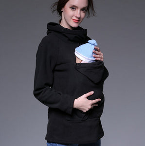 Fashion Women Maternity Kangaroo Hooded Baby Carriers Sweatshirts - Bump Closet Maternity Clothes