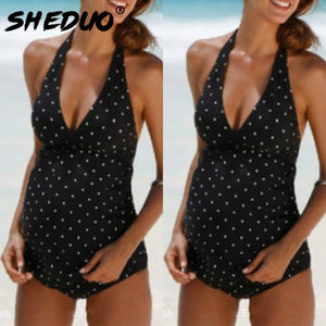 Bump Closet Sriped BeachTwo Piece Swimsuit Deep V - Bump Closet Maternity Clothes