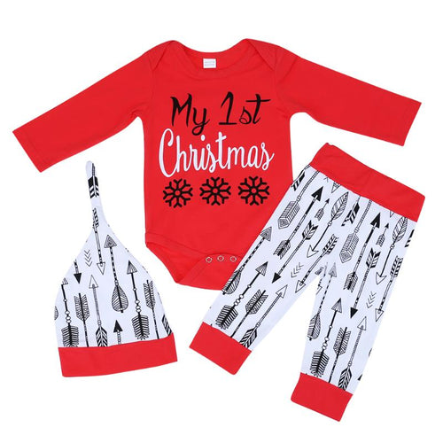 Bump Vloset 3cs Baby Christmas Suits Long Sleeve Rompers Arrow Print