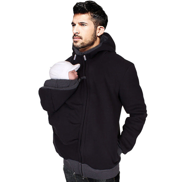 Dad Winter Kangaroo Cotton Baby Carrier Jackets with Zipper Dad Coat Hoodies - Bump Closet Maternity Clothes