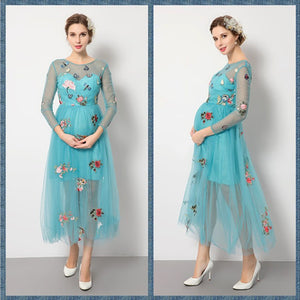 Bump Closet Fashion Maternity Three Quarter Dress Round neck  Bohemian Style Party Dress - Bump Closet Maternity Clothes