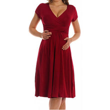 Maternity Short-sleeved Pleated Dress Bump Closet - Bump Closet Maternity Clothes