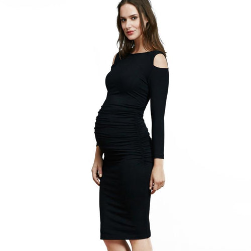 Bump Closet Knee-length Maternity Dress Cut Shoulder - Bump Closet Maternity Clothes