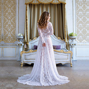 Bump Closet Off-white Maternity Photography Lace Long Dress V-neck Floor Length - Bump Closet Maternity Clothes