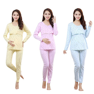 Bump Closet Maternity Breastfeeding Pajamas Set Cotton - Bump Closet Maternity Clothes