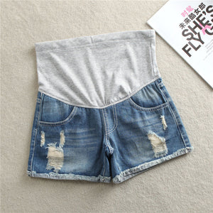 Bump Closet Denim Maternity Shorts Ripped - Bump Closet Maternity Clothes