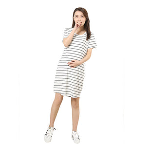 Stripes Maternity Dress Women Plus size Mother Home Clothes L/XL/XXL - Bump Closet Maternity Clothes