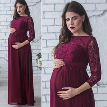 Bump Closet Lace Three Quarter Sleeve Long Dress