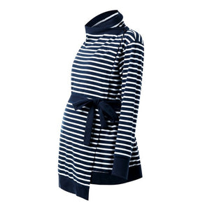 Bump Closet Fall Maternity Long Sleeve Striped Outerwear - Bump Closet Maternity Clothes