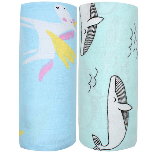 Bump Closet 2pcs Set Bamboo Cotton Muslin Baby Swaddles - Bump Closet Maternity Clothes