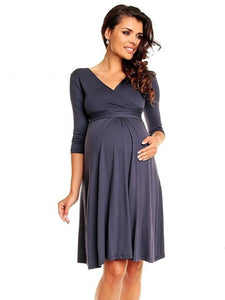 Deep V Neck Three Quarter Sleeve Maternity Dresses for Plus Size Women - Bump Closet Maternity Clothes