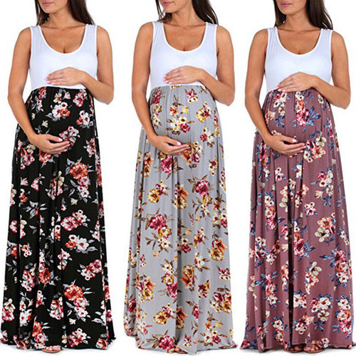 Bump Closet Floral Sleeveless Maternity Long - Bump Closet Maternity Clothes