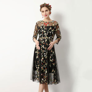 Bump Closet Maternity Dress Flower Embroidery - Bump Closet Maternity Clothes