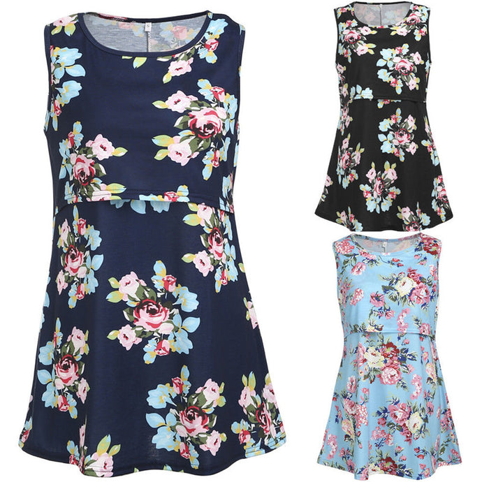 Bump Closet Maternity Floral Maternity Tank sleeveless - Bump Closet Maternity Clothes