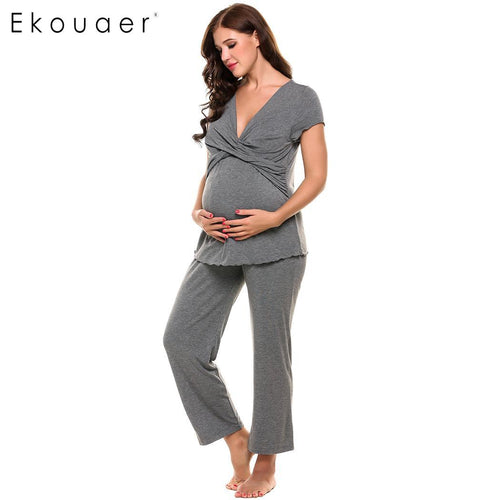 Bump Closet Soft Maternity Pajamas Cotton Nightwear Set - Bump Closet Maternity Clothes