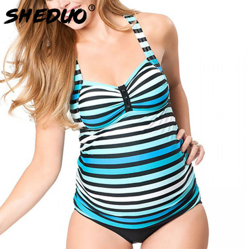 Maternity Striped Beach Swimming Suit Two Piece Swimsuit Deep V - Bump Closet Maternity Clothes