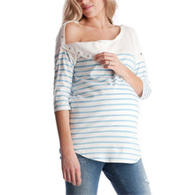 Bump Closet High Quality Fashion Maternity T-shirt Loose Contrast Color Striped - Bump Closet Maternity Clothes