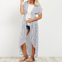 Maternity Striped Long Loose V Neck Batwing Sleeve Blouse Shirts Plus Size Tops - Bump Closet Maternity Clothes