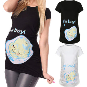 Bump Closet Its a boy Print Short Sleeve T shirt - Bump Closet Maternity Clothes