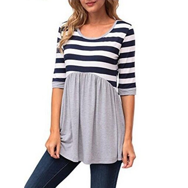 Stripe Maternity T-Shirt Clothes For Pregnant Women Nursing O-neck Tops Casual Cotton Short Sleeve T-shirts