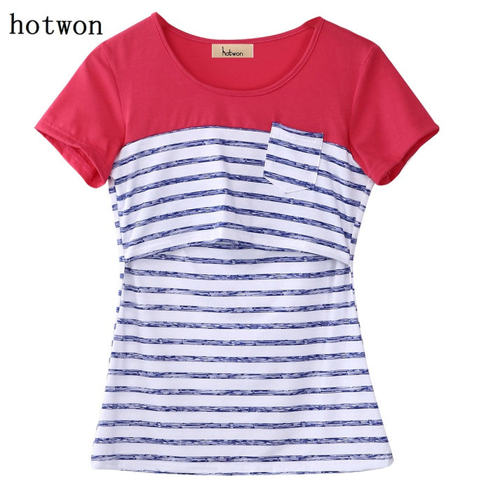 Bump Closet Maternity Breastfeeding Summer Tees Print Nursing Tops Short Sleeve Striped