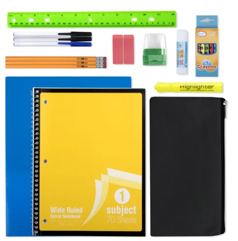 20 Piece School Supply Kit ($6.50/Kit-24/Case)