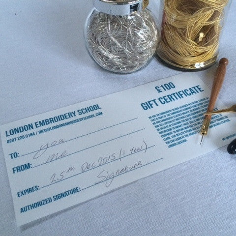London Embroidery School Gift Certificate