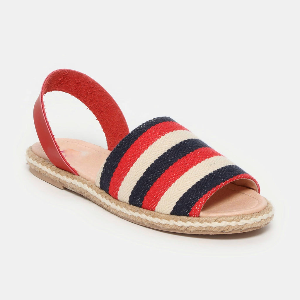 Sandalias - Betty - rayas azul rojo