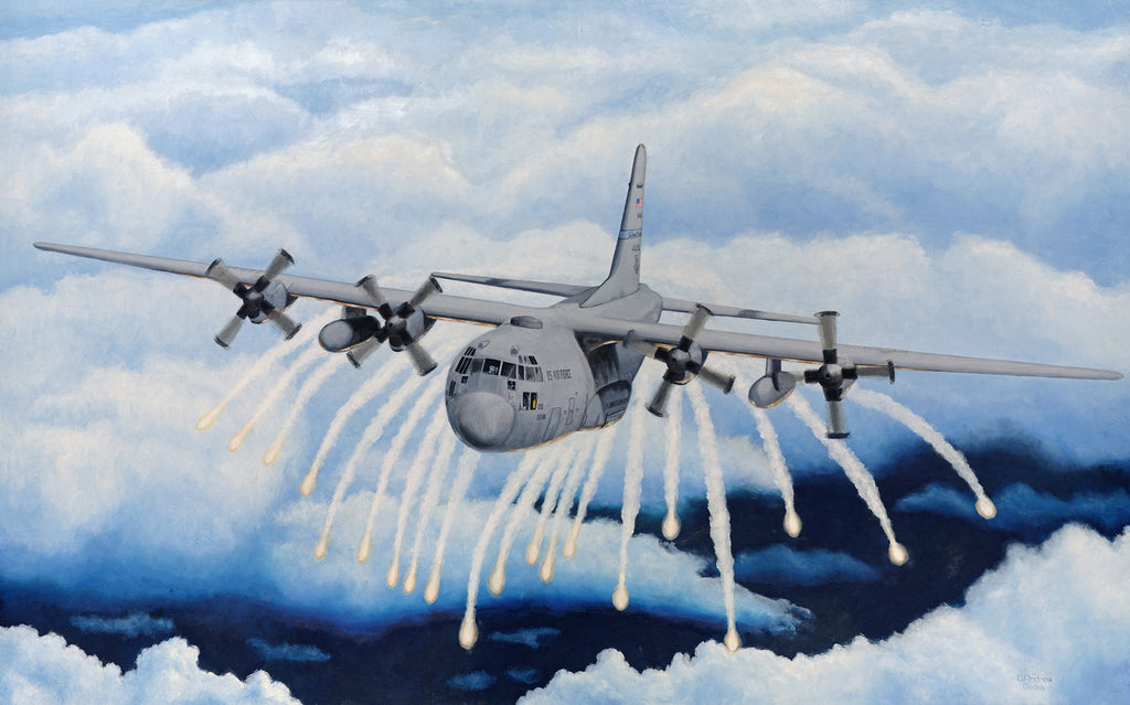 c 130 with flares giclee print air mobility command museum store