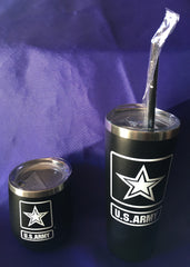 US Army Black   Stainless Steel Tumbler - Two Sizes    Gifts