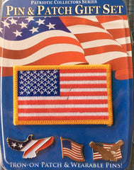 US Flag Pin and Patch Set