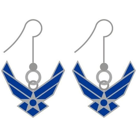 Air Force Earrings - Blue and Silver Dangles      Jewelry