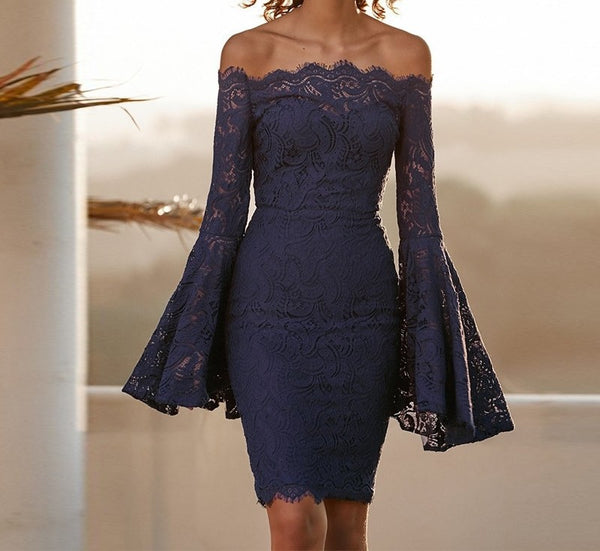 Luna - Elegant Off Shoulder Lace Flare Sleeve Bodycon Dress
