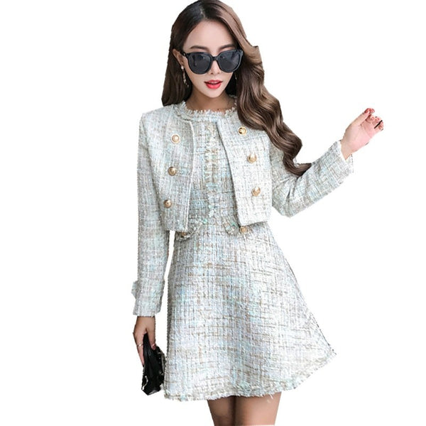 Maia - Runway Tweed 2 Piece Designer Dress Set