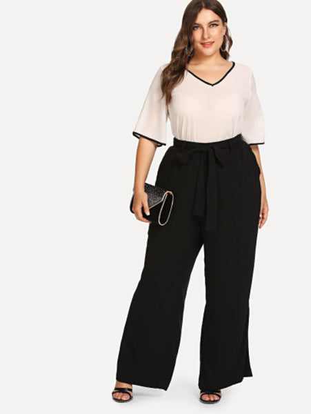 Freida - Plus Size Knot Front Wide Leg Pants