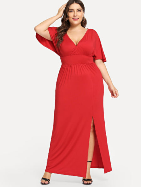 Katrina - Plus Size Deep V Neck Split Hem Dress