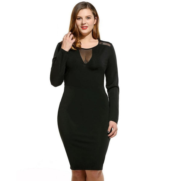 Ember - Plus Sizes Long Sleeve Mesh Pencil Dresses