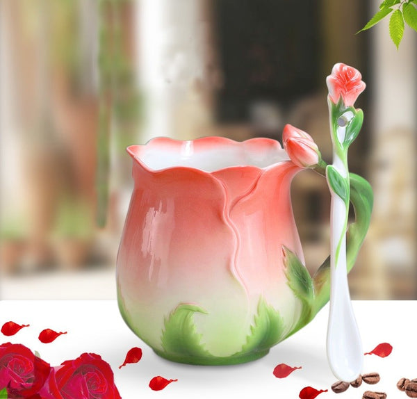 3D Rose Enamel Mug With Spoon Creative Gift Set