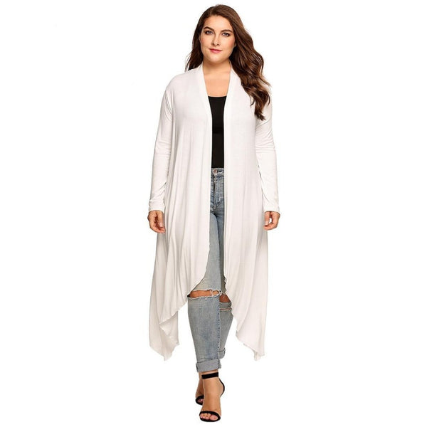 Naomi - Plus Size Open Front Solid Draped Cardigan Jacket