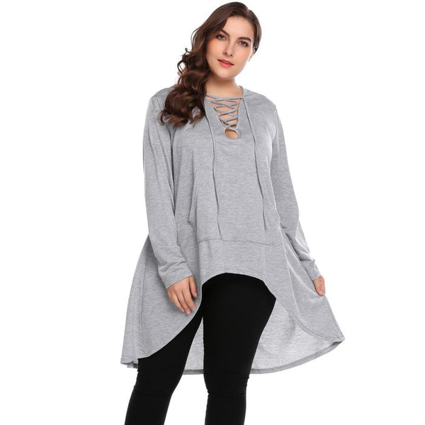 Myrtle - Plus Size Pullover Hooded Crisscross V-Neck Asymmetrical Sweatshirts