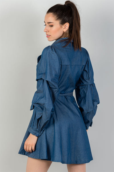 Kerri - Denim Tiered Sleeve Waist Tie dress