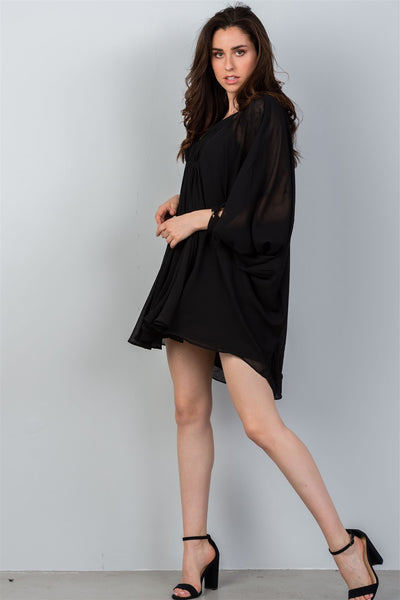Liora - V-neckline Batwing Sleeve Dress