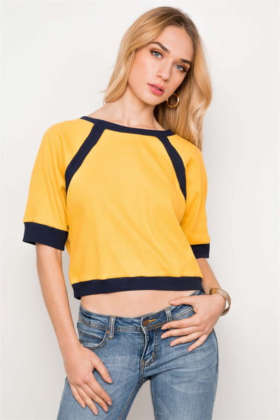 Haide - Mustard Dolmen Sleeve Cropped Top