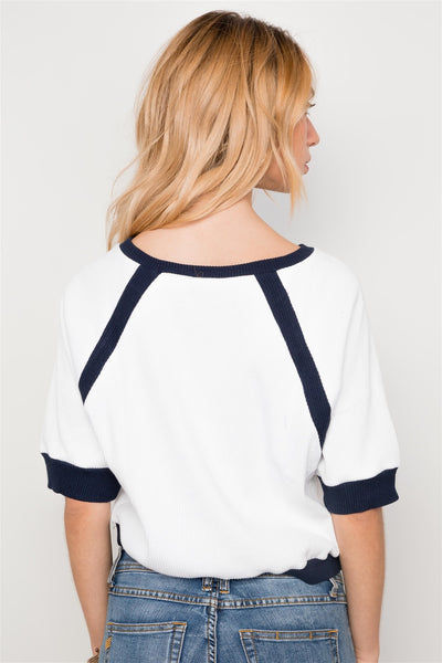 Haide - Ivory Dolmen Sleeve Cropped Top